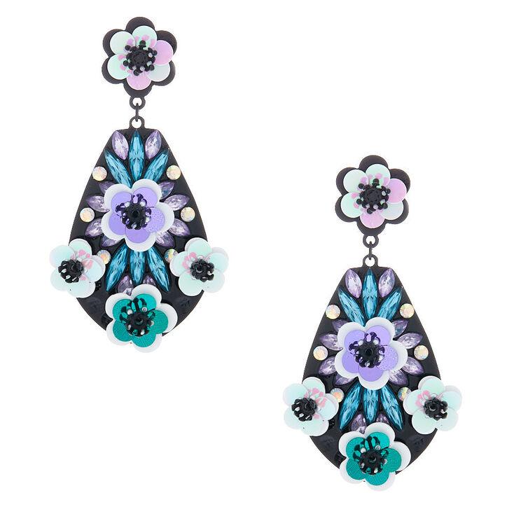 """Silver 2"""" Sequin Floral Drop Earrings - Purple,"""