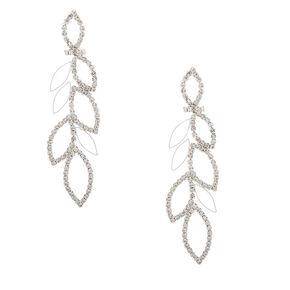 "Silver Rhinestone 3"" Leaf Drop Earrings,"