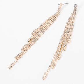 "Gold 3.5"" Rhinestone Tiered Linear Drop Earrings,"