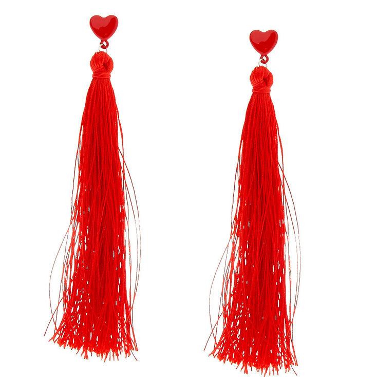 Red Heart Tassel Earrings,
