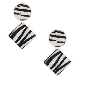"Silver 2"" Fuzzy Zebra Drop Earrings,"