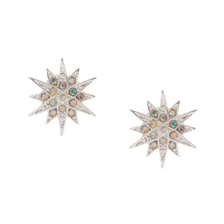 Silver Tone Starburst Stud Earrings,
