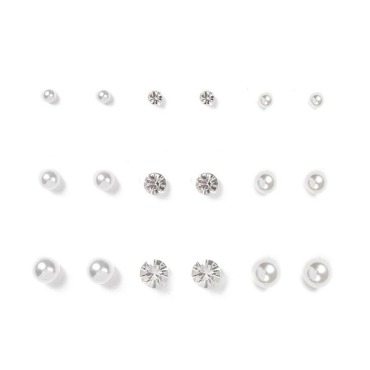 Silver Crystal & Pearl Graduated Stud Earrings - 9 Pack,