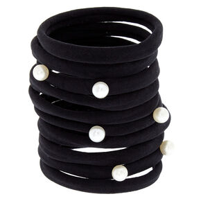 Pearl Hair Ties - Black, 10 Pack,