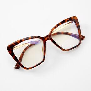 Blue Light Reducing Tortoiseshell Rectangle Clear Lens Frames - Brown,