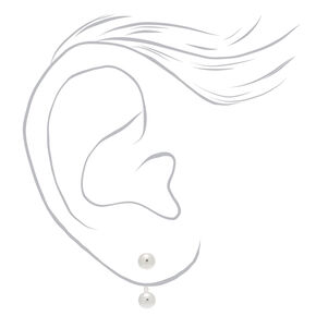 Silver Ball Front & Back Earring,