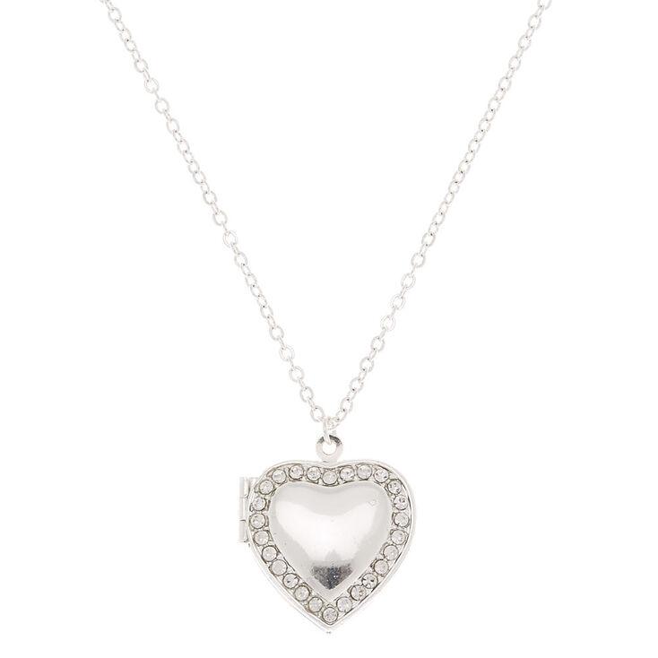 Silver Heart Long Locket Pendant Necklace,