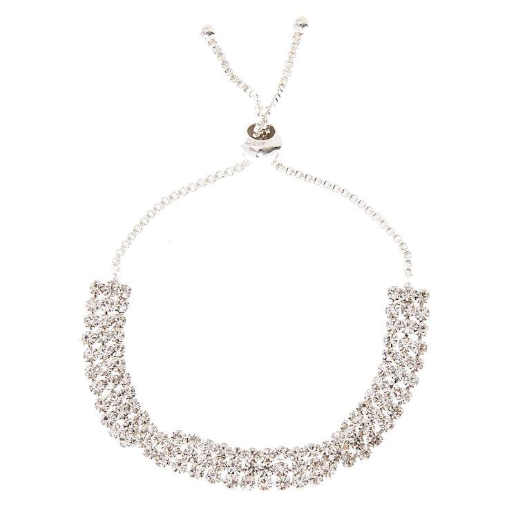 Silver Rhinestone Twisted Adjustable Bracelet,