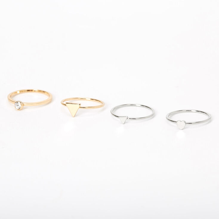 Mixed Metal Simple Geometric Rings - 4 Pack,