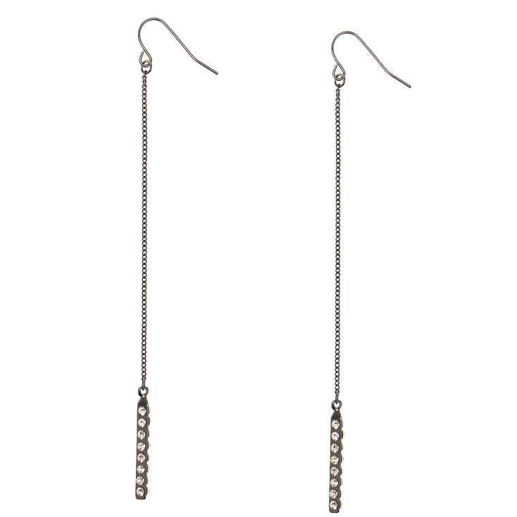 Black Long Dangle Earrings with Clear Simulated Rhinestones,