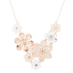Mixed Metal Flower Statement Necklace,