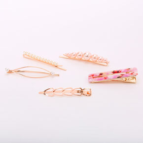 Rose Gold Pearl Tortoiseshell Geometric Hair Pins - Pink, 6 Pack,