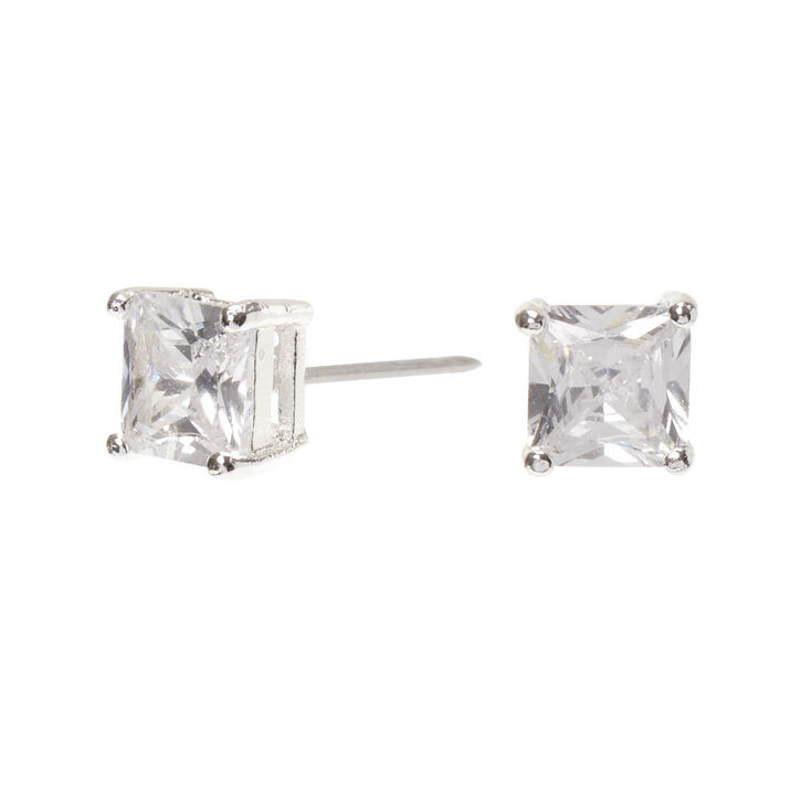 Silver Cubic Zirconia 6MM Square Stud Earrings,