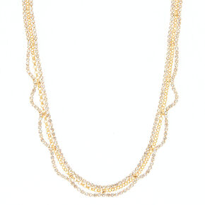 Gold Glass Rhinestone Scallop Statement Necklace,