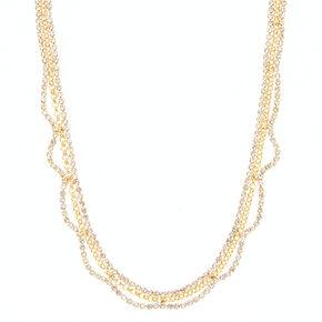 Gold Glass Rhinestone Scallop Statement Necklace,