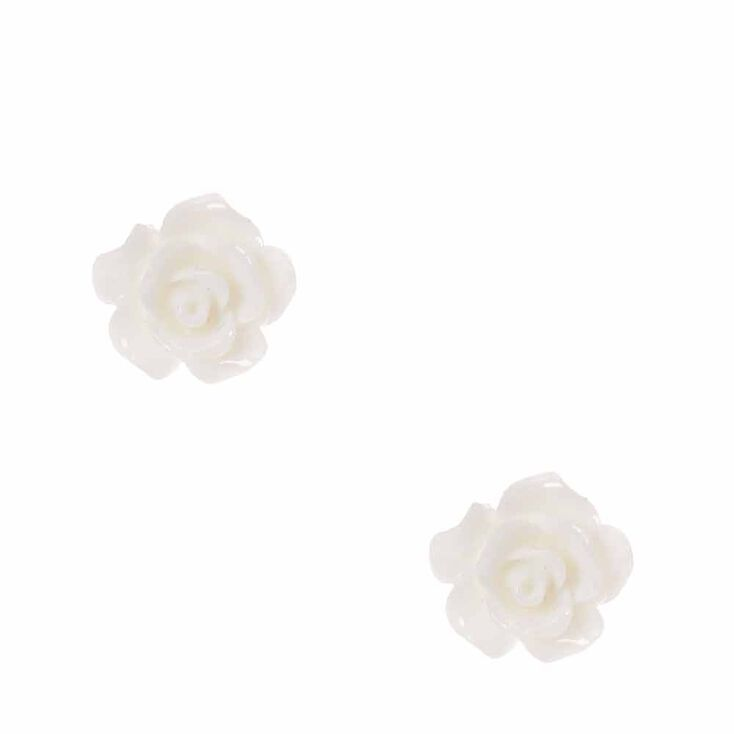 White Carved Rose Stud Earrings,