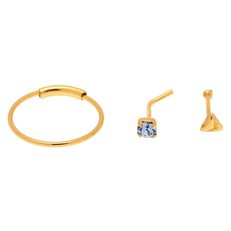 Gold Sterling Silver 22G Aqua Nose Studs & Hoop Set - 3 Pack,
