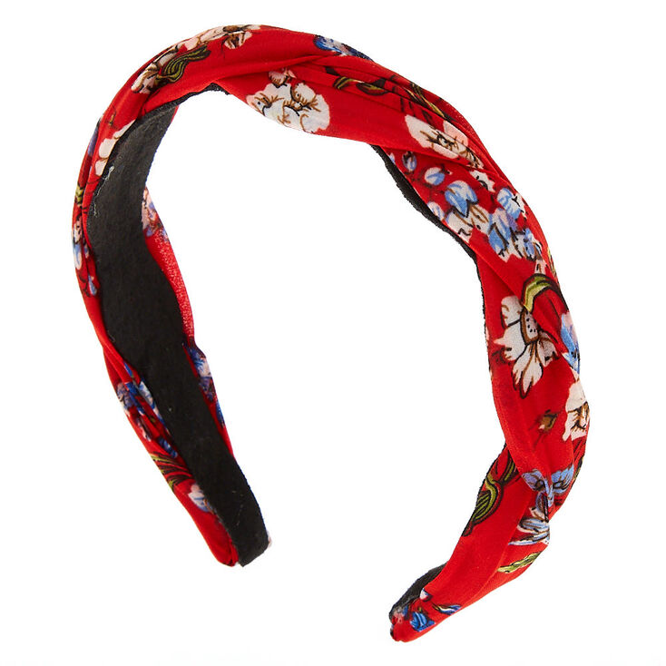 Floral Twisted Headband - Red,