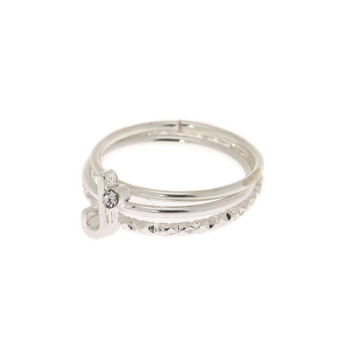 Silver Initial Midi Rings - J, 3 Pack,