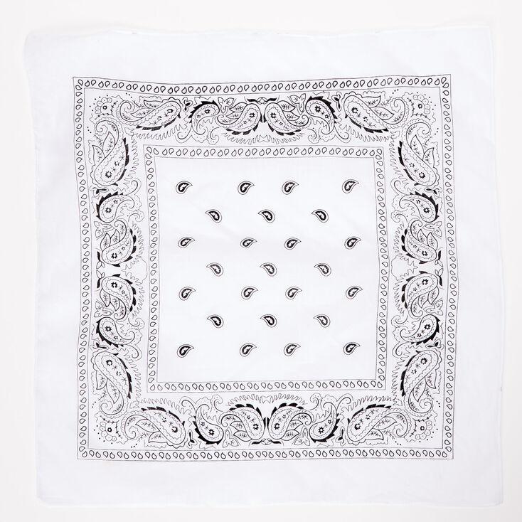 Paisley Print Bandana Headwrap - White,