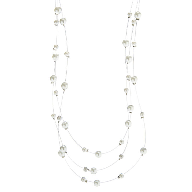 Multistrand Glass Pearl Necklace,