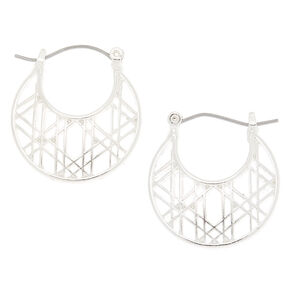 Silver 25MM Aztec Hoop Earrings,