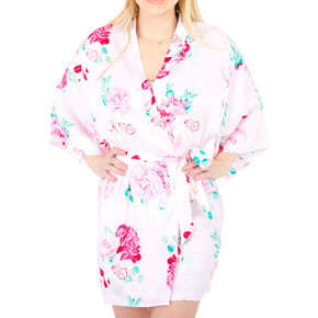 Pink Floral Satin Robe - L/XL,