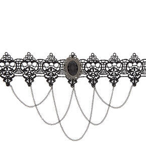 Lace Chain Choker Necklace - Black,