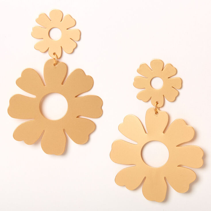 """Gold 2.5"""" Double Daisy Drop Earrings,"""
