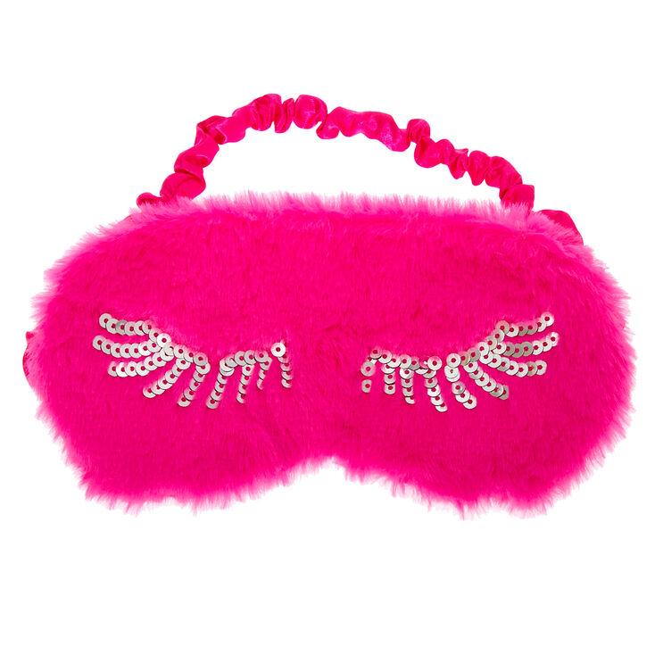 Plush Sequin Eyelash Sleeping Mask - Pink,