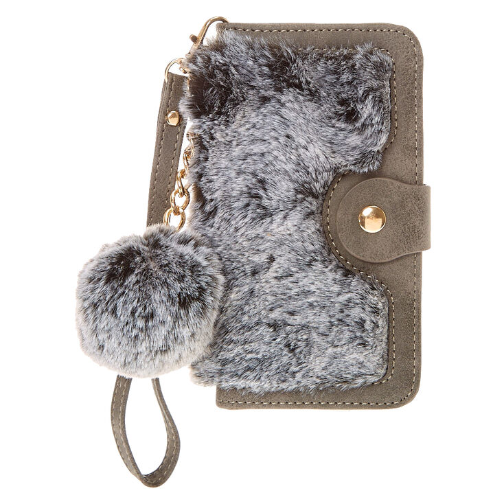 Gray Faux Fur Folio Pom Phone Case,