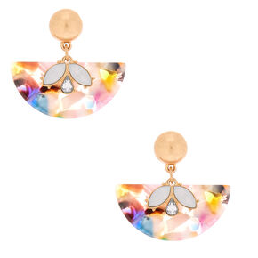 "1.5"" Resin Painted Fan Drop Earrings,"