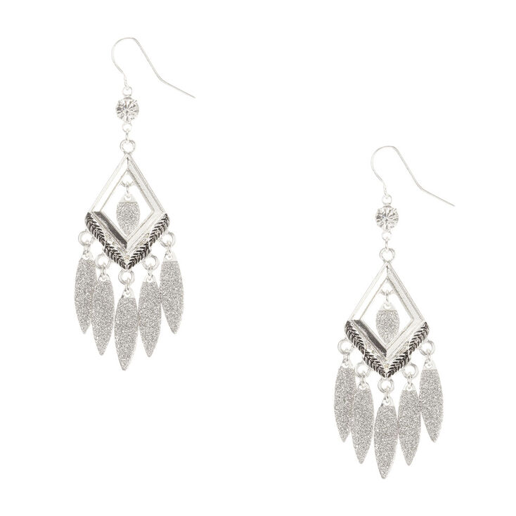 Silver Glitter Chandelier Drop Earrings,