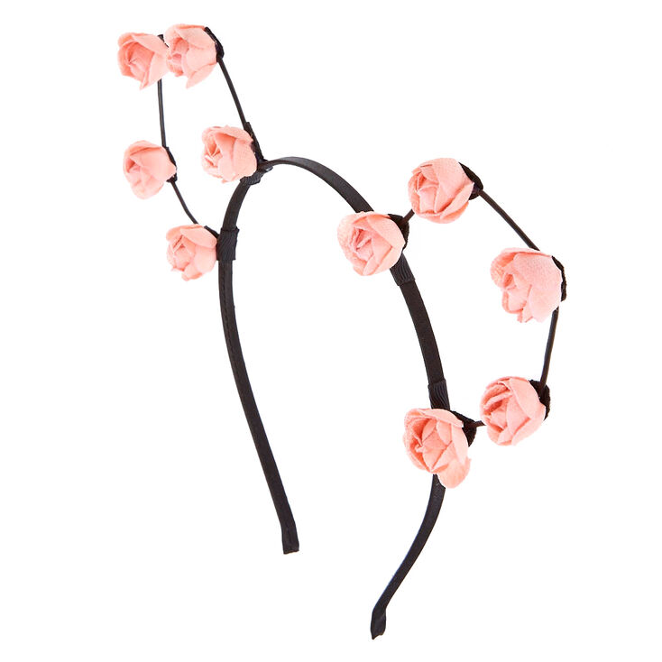 Blush Pink Flower Cat Ear Headband,