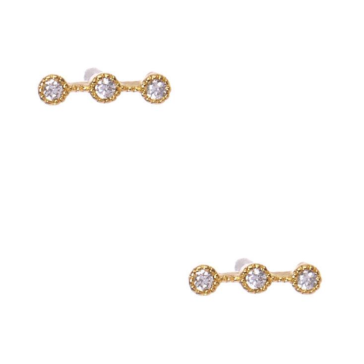 925 Sterling Silver Crystal Bar Earrings,