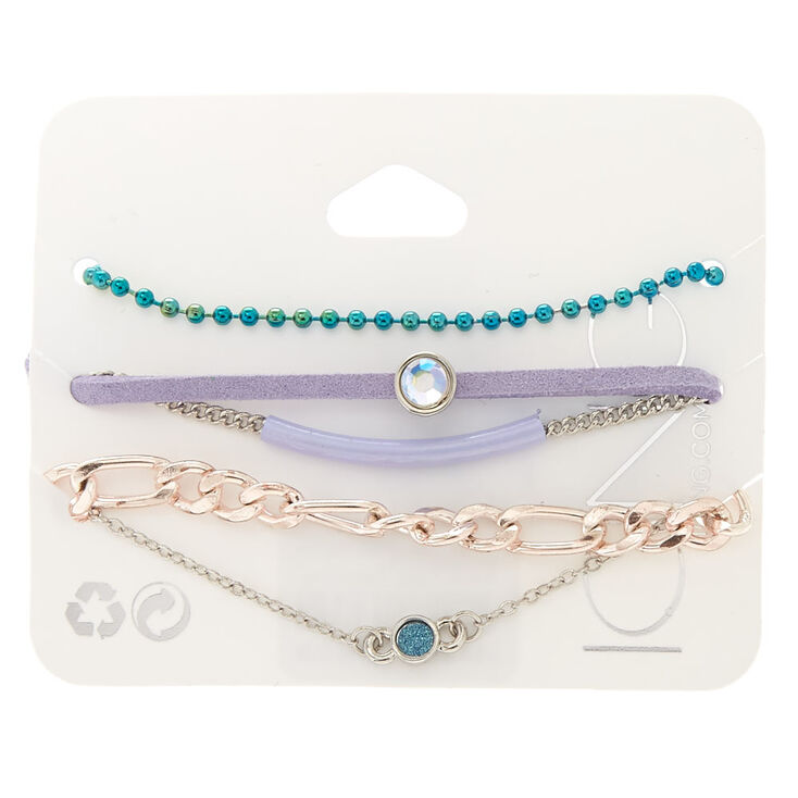 5 Pack Assorted Pastel Chain Bracelets,