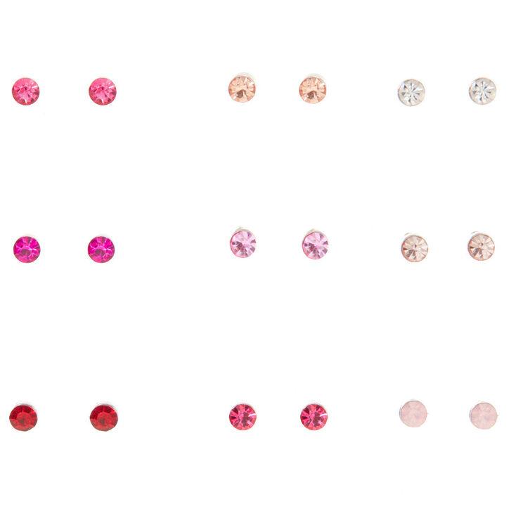 Silver Crystal Stud Earrings - Pink, 9 Pack,