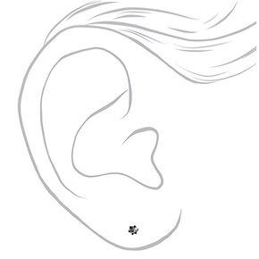 Silver, Hematite, & Black Embellished Stud Earrings - 9 Pack,