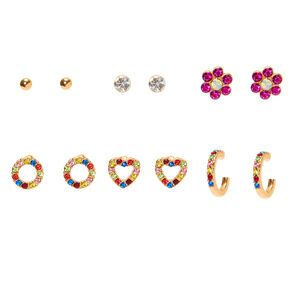 Gold Rainbow Crystal Stud Earrings - 6 Pack,