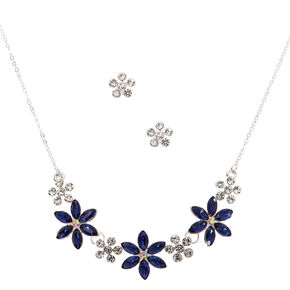 Silver Bloom Jewelry Set - Blue, 2 Pack,