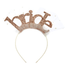 Rose Gold Bride Headband,