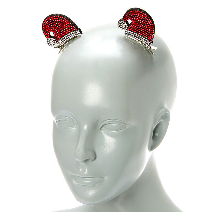 Crystal Santa Hat Hair Clips - 2 Pack,