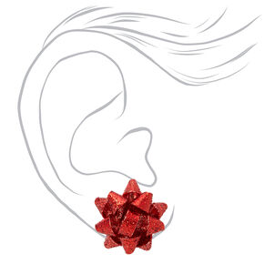 Glitter Bow Stud Earrings - Red,
