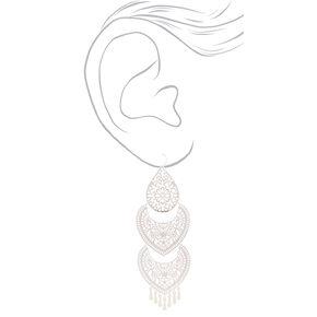 """Silver 5"""" 3 Piece Filigree Drop Earrings,"""