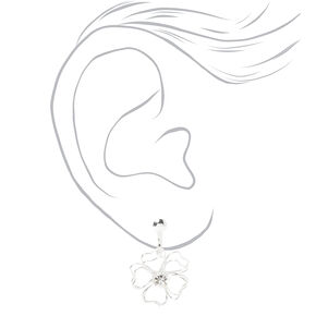 "Silver 1"" Wired Flower Clip On Drop Earrings,"