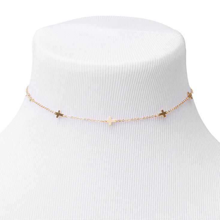Gold Sideways Cross Choker Necklace,