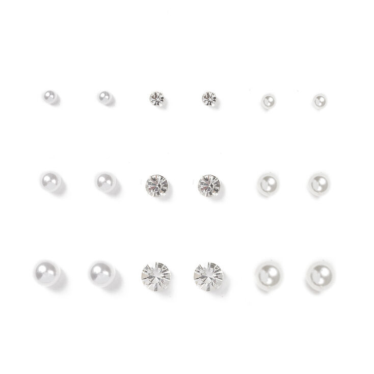 Graduated Crystal, White & Ivory Pearl Stud Earrings Set of 9,