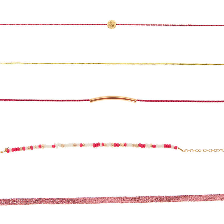 5 Pack Hot Pink And Gold Choker Necklaces,