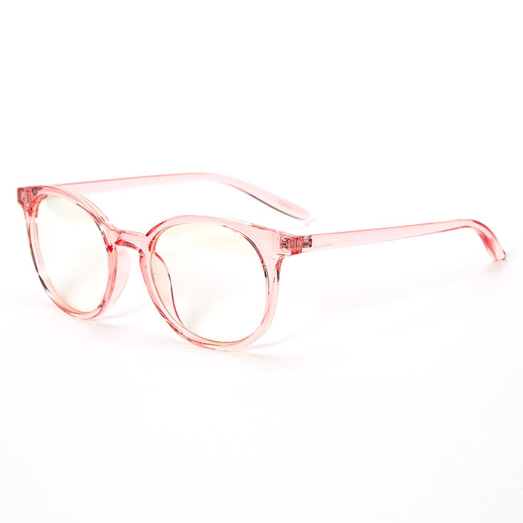 Blue Light Reducing Round Clear Lens Frames - Pink,