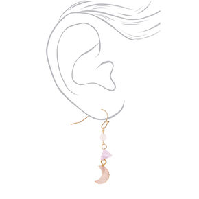 "Gold 1.5"" Amethyst Stone Moon Drop Earrings - Purple,"